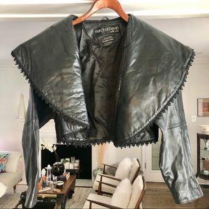 Vintage 80's Cropped Leather Jacket, Sz 6-8
